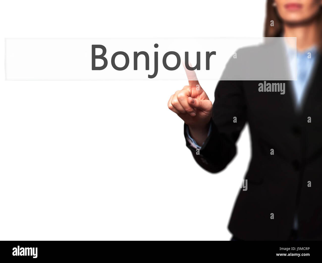 Bonjour Good Morning In French Young Girl Working With Virtual
