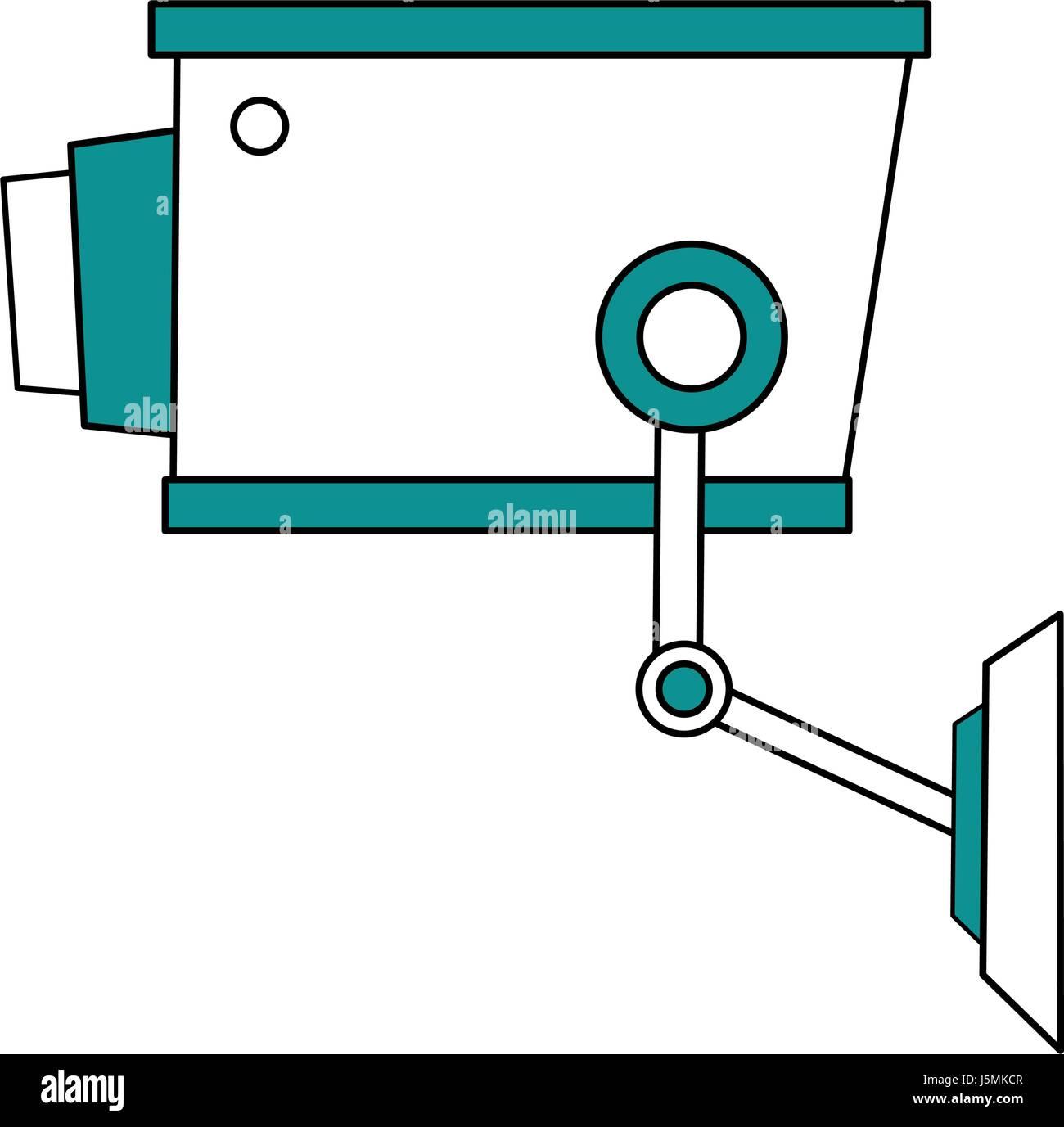 color silhouette image infrared surveillance camera icon Stock Vector