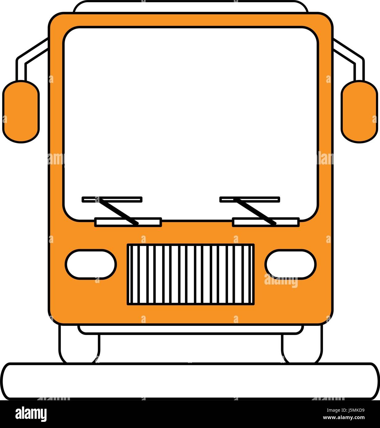 color silhouette image front view public service bus - Stock Image