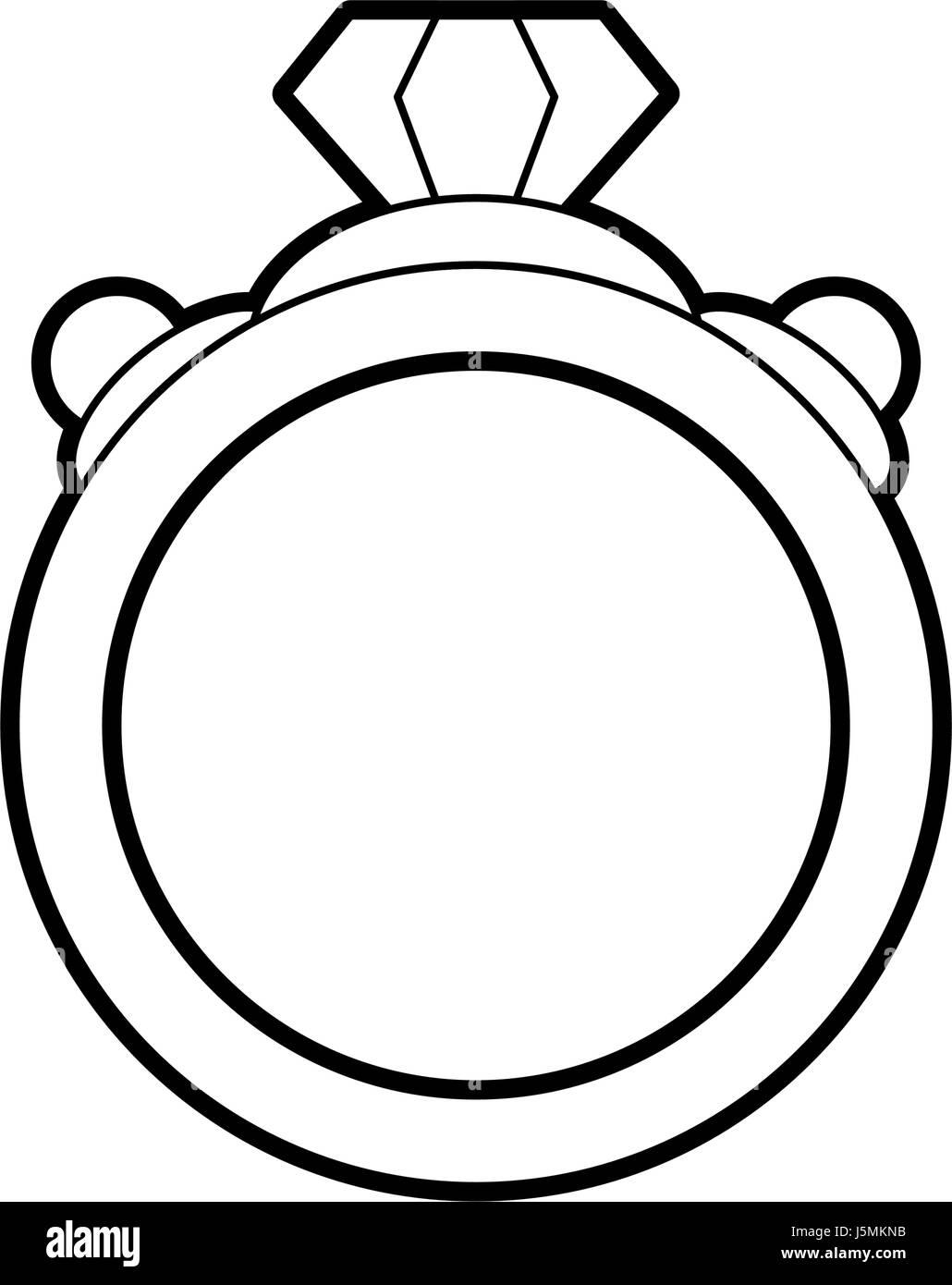 sketch silhouette image diamond engagement ring - Stock Image