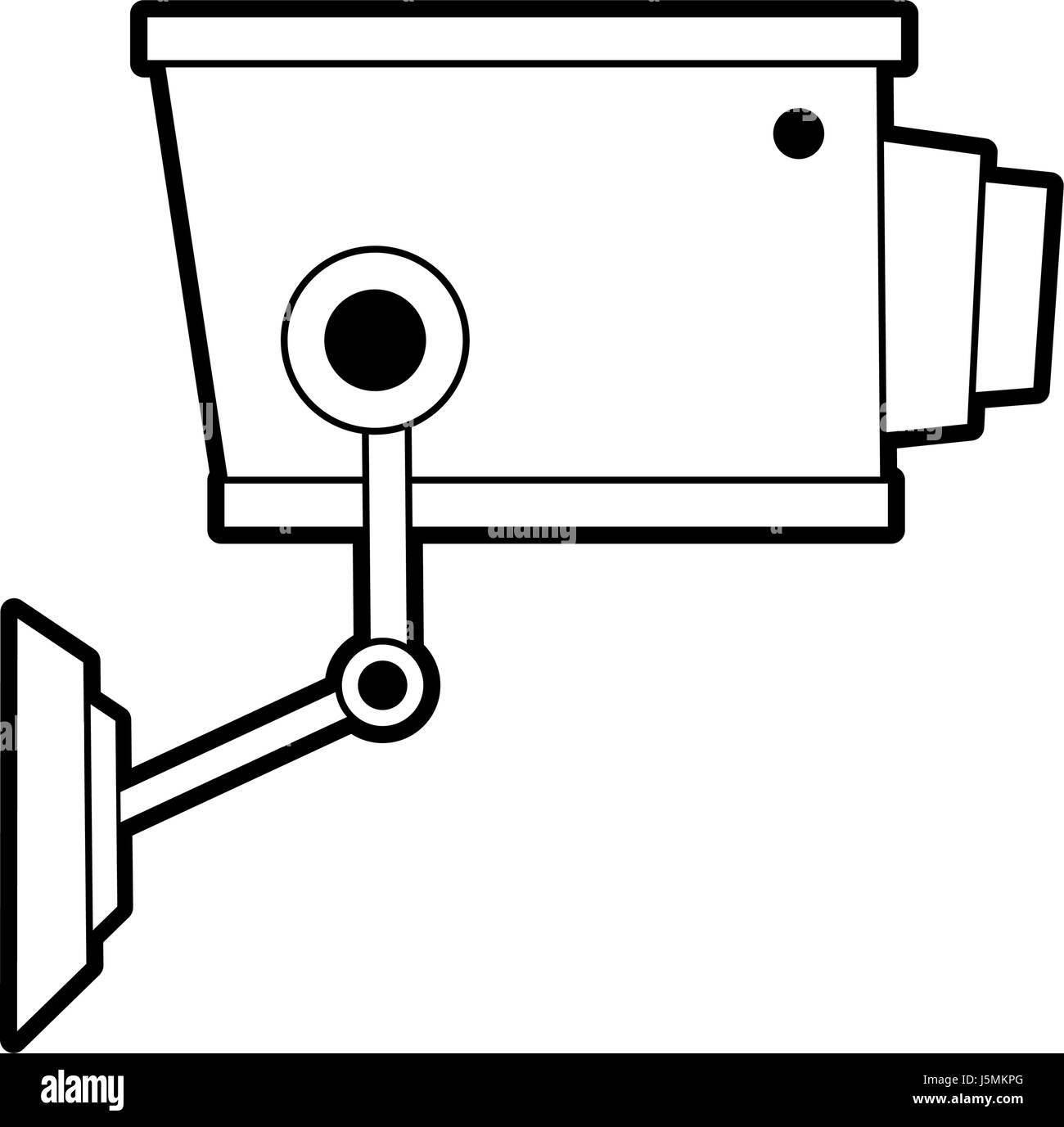 sketch silhouette image infrared surveillance camera icon Stock Vector