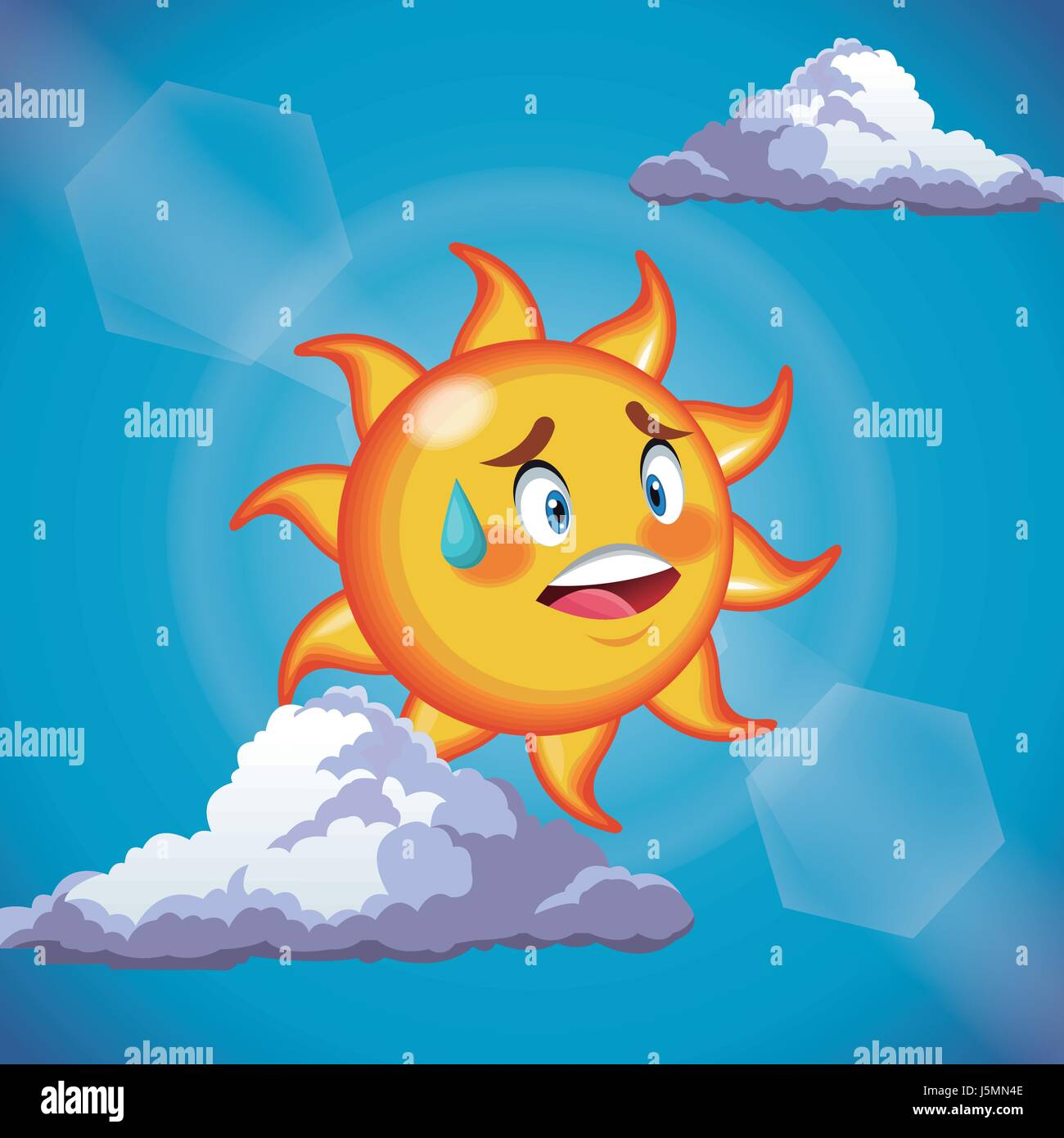 character sun sweat cute face - cartoon in the blue sky - Stock Vector