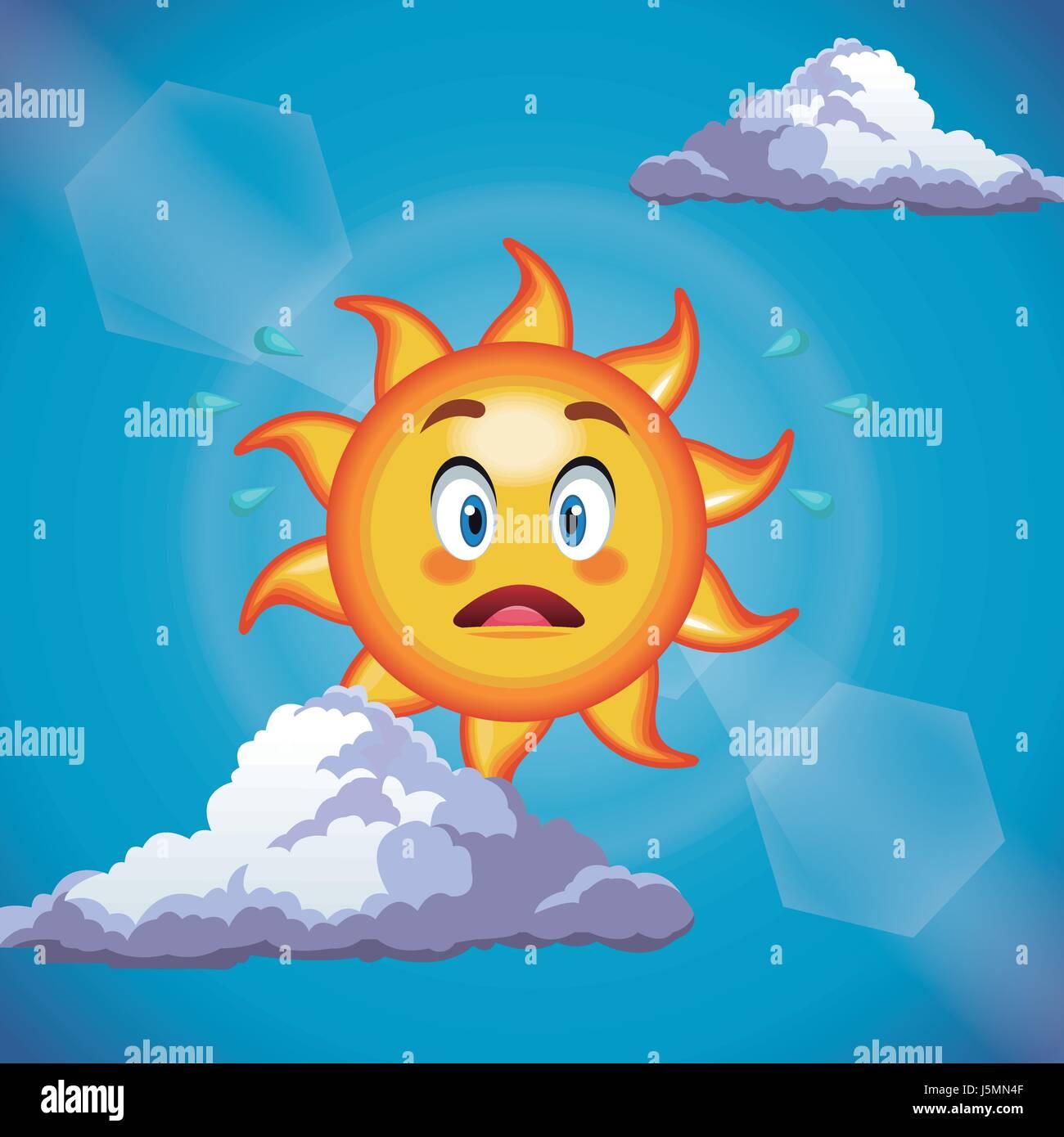 character sun surprise cute face cartoon in the blue sky stock