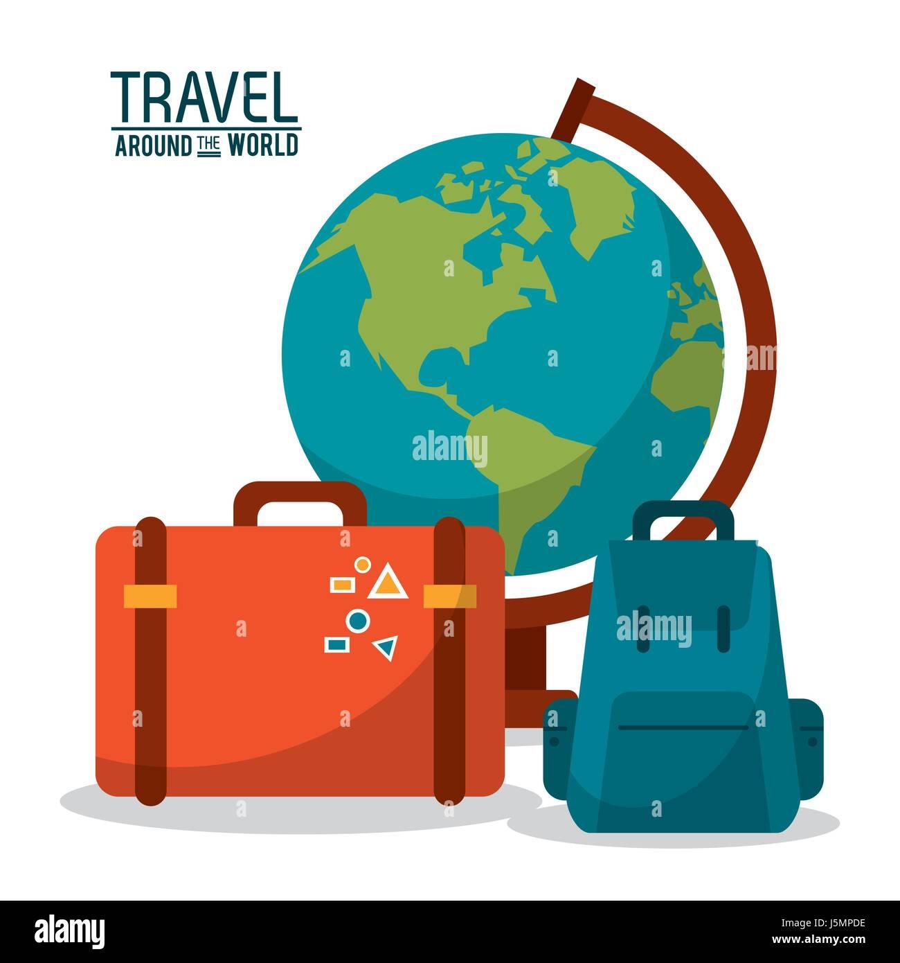 Travel Around The World Globe Map Backpack Suitcase Luggage