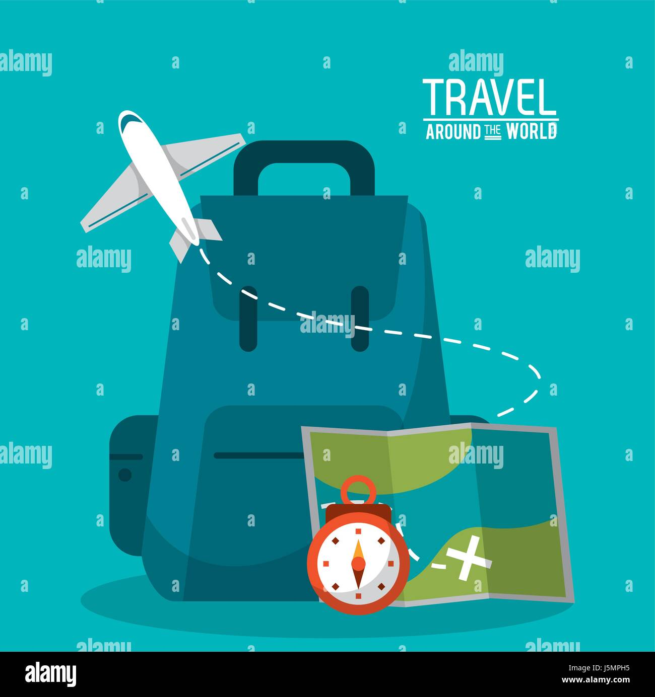 travel around the world backpack time map plane - Stock Vector