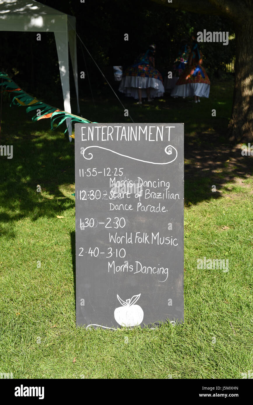 Entertainment Schedule on a blackboard, Brighton Apple Day, Stanmer Park, Brighton, England - Stock Image