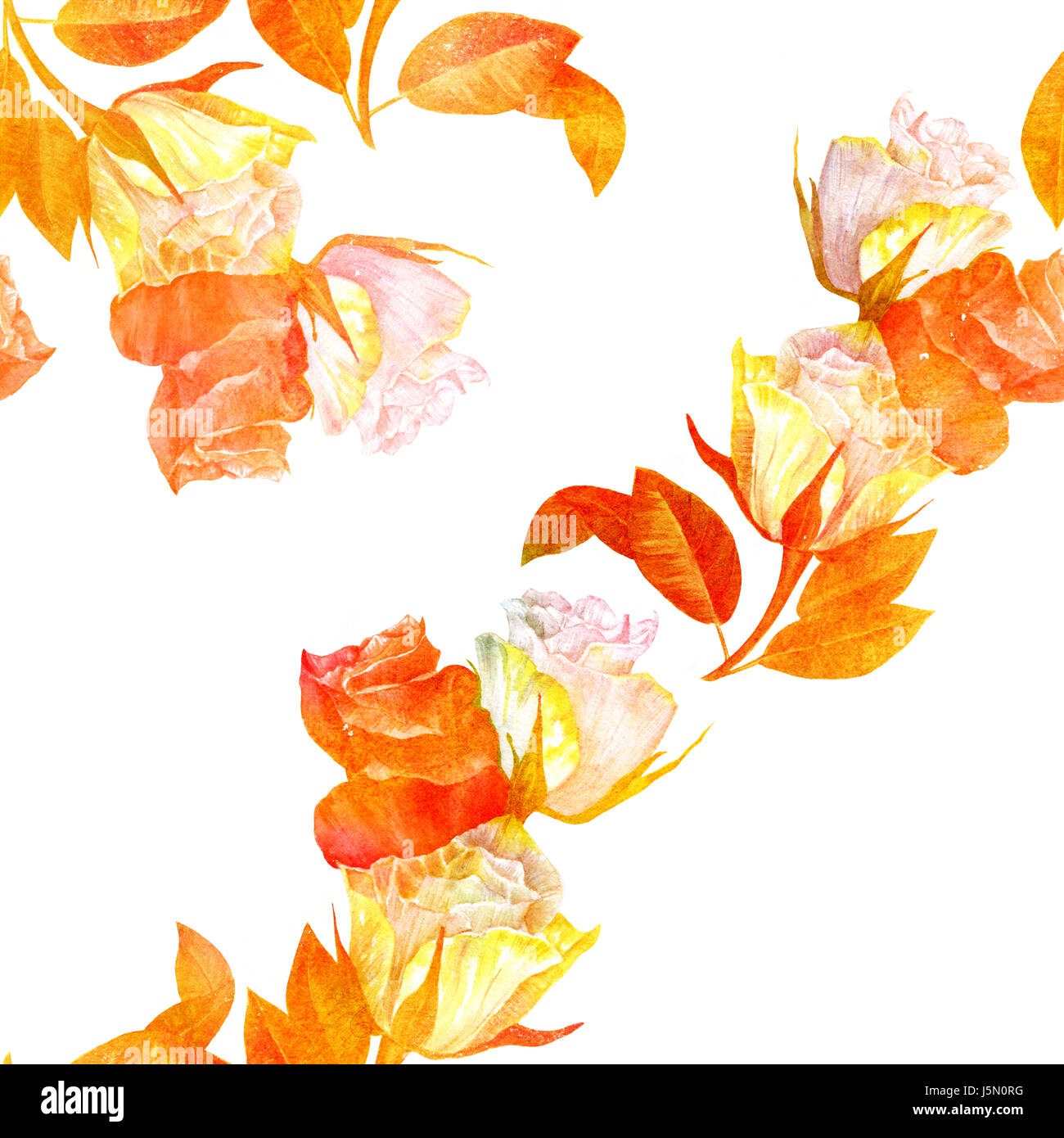 Seamless background pattern with golden toned watercolor roses - Stock Image