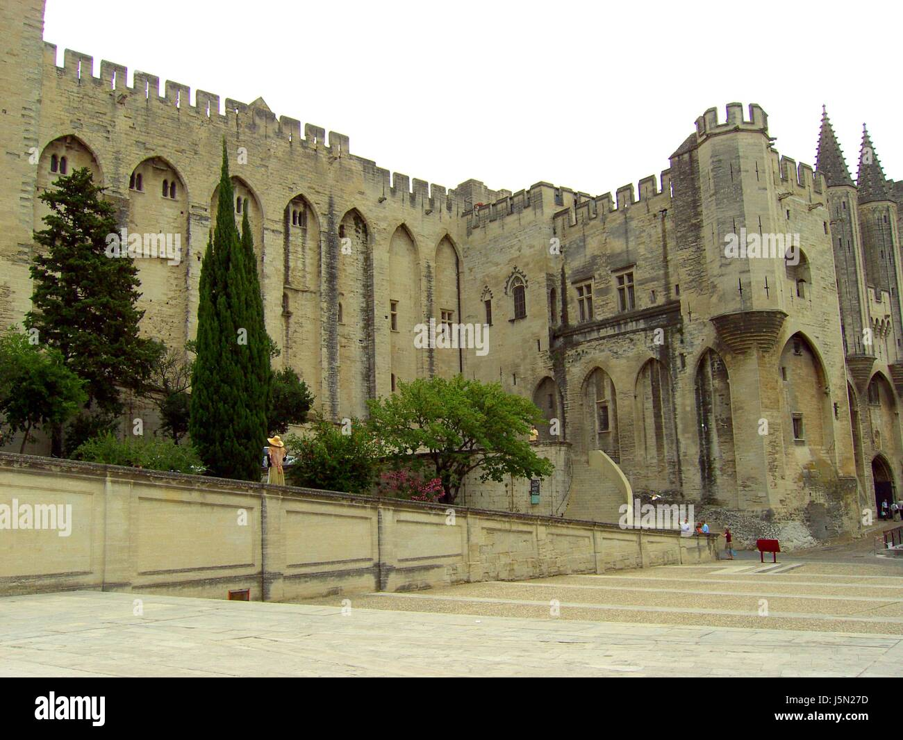 historical france gothically palace Provence gothic chateau castle old avignon - Stock Image