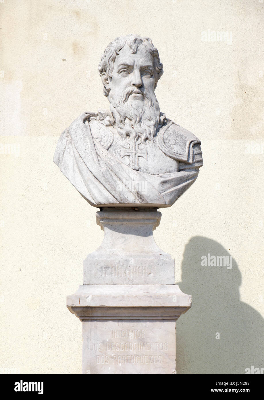 Bust of Infante D. Henrique of Portugal (Henry the Navigator), the initiator of Age of Discoveries, in the San Pedro - Stock Image