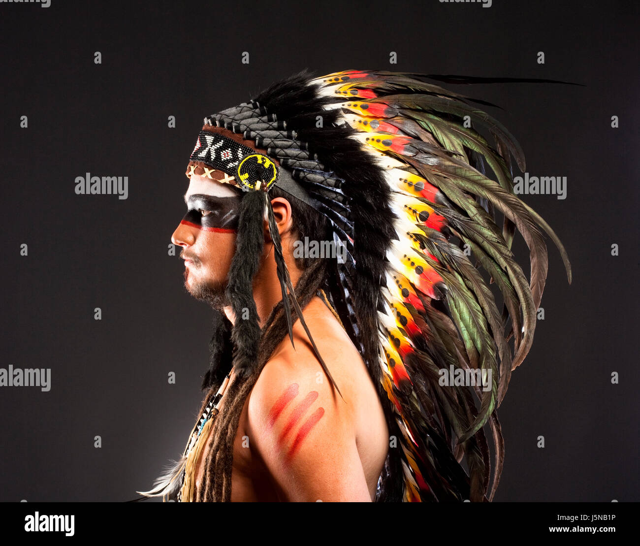 Native American Indian Chief War Bonner Headdress - Stock Image