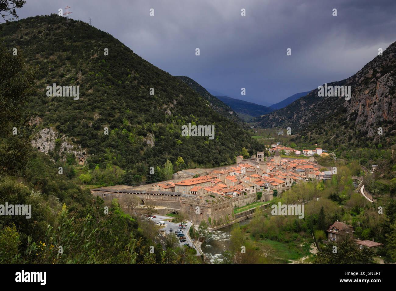 France, Pyrenees Orientales, Villefranche de Conflent, labelled Les Plus Beaux Villages de France (Most beautiful - Stock Image
