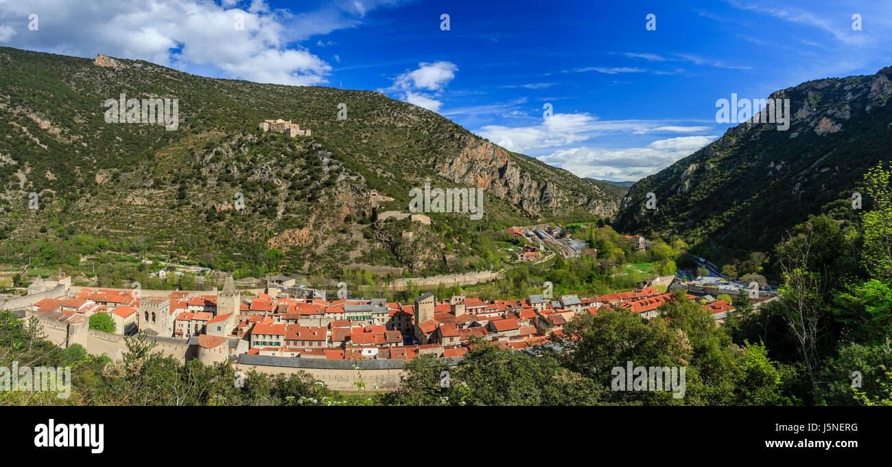 France, Pyrenees Orientales, Villefranche de Conflent, labelled Les Plus Beaux Villages de France (Most beautiful - Stock Image