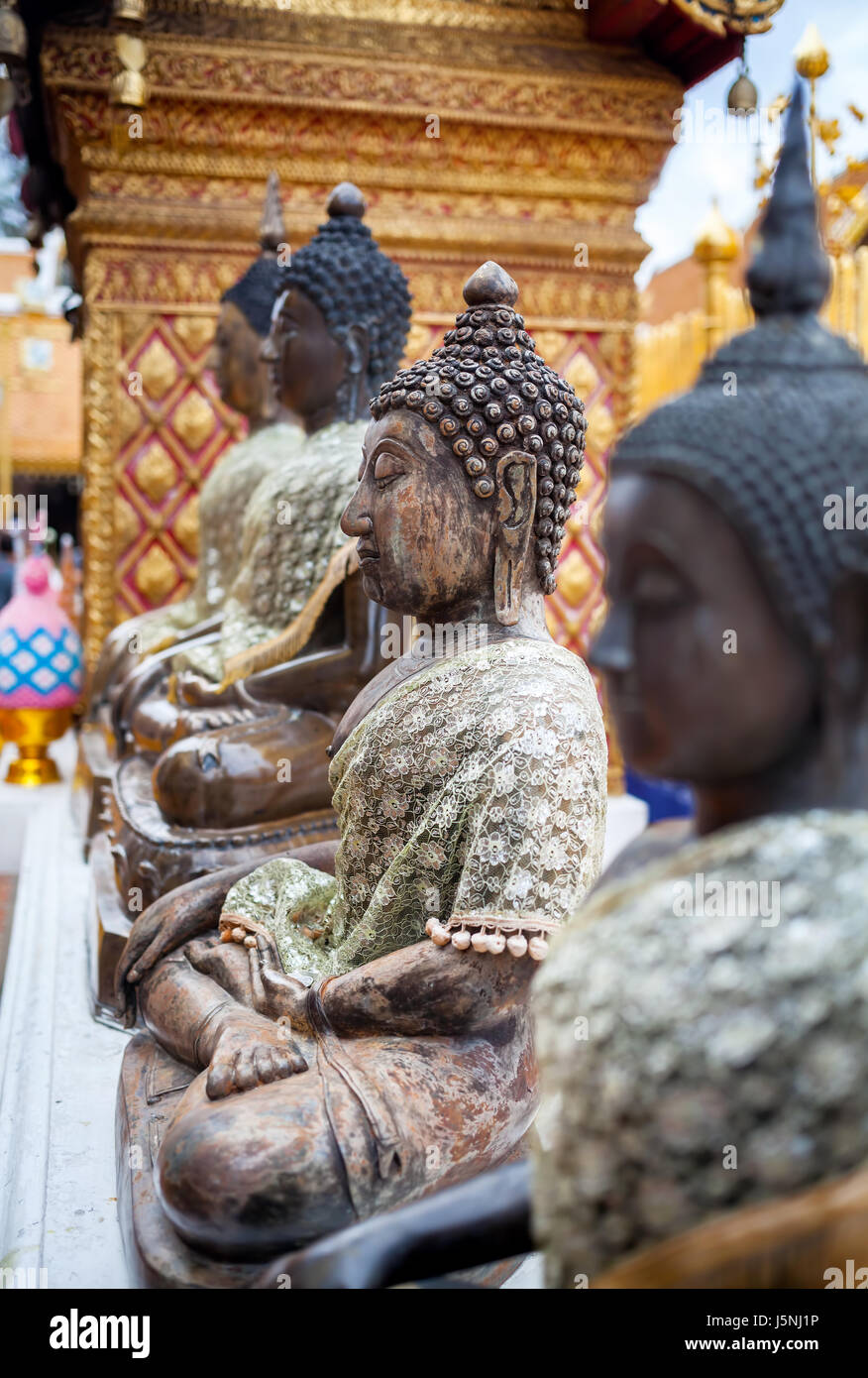 Buddha statue from stone in Wat Doi Suthep, Ciang Mai, Thailand - Stock Image