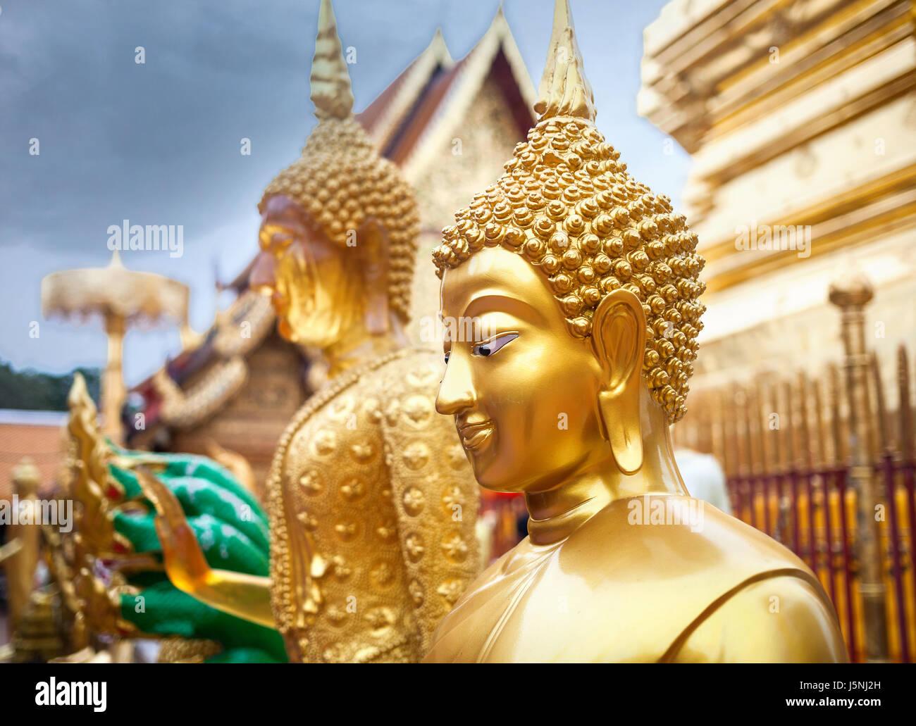 Golden Buddha statue in Wat Doi Suthep, Ciang Mai, Thailand - Stock Image