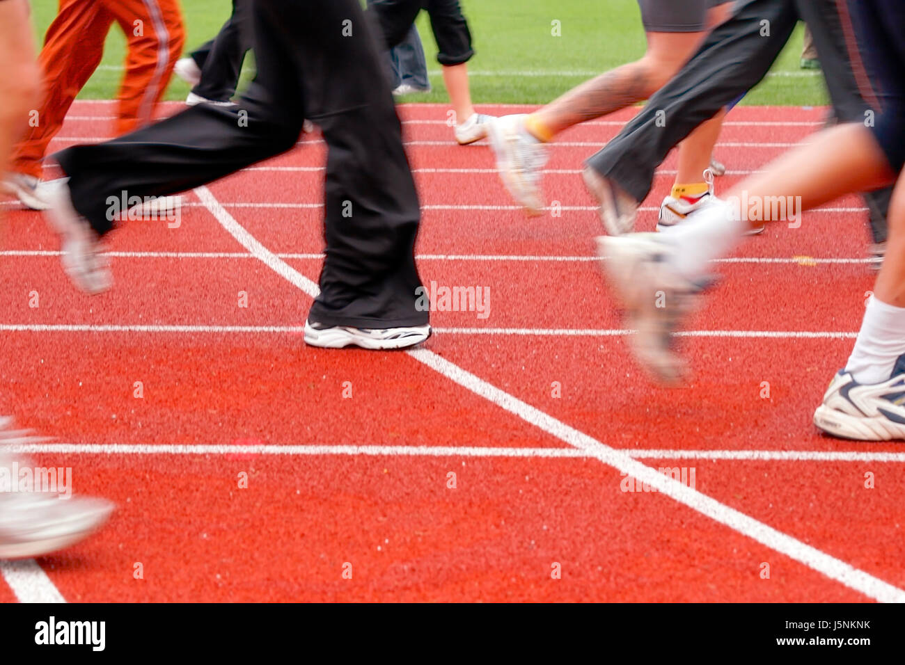 track stadium contest rotor training sneakers leg bolt train foot race career Stock Photo