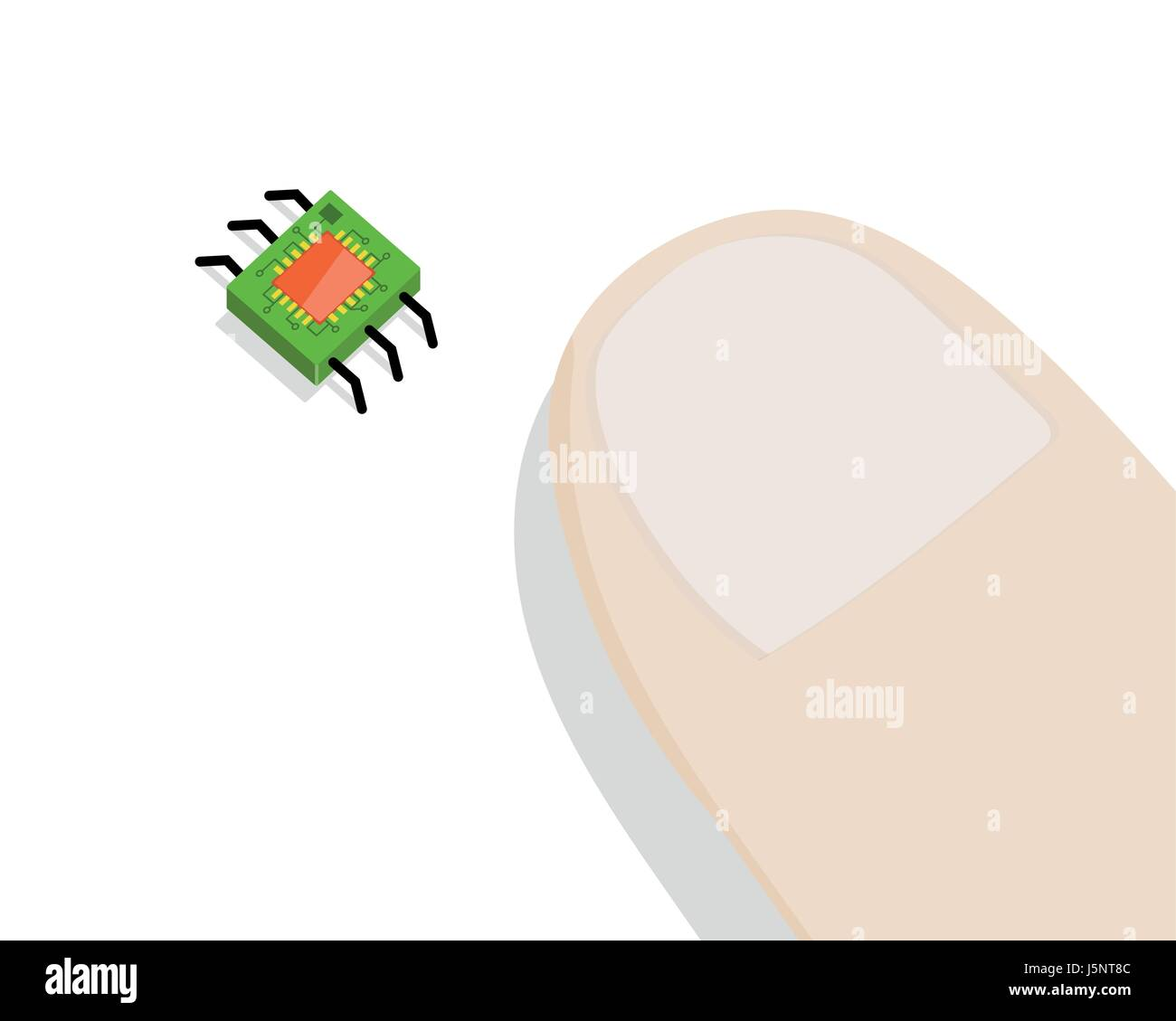 Minirobot Near Human Finger on white background. - Stock Vector