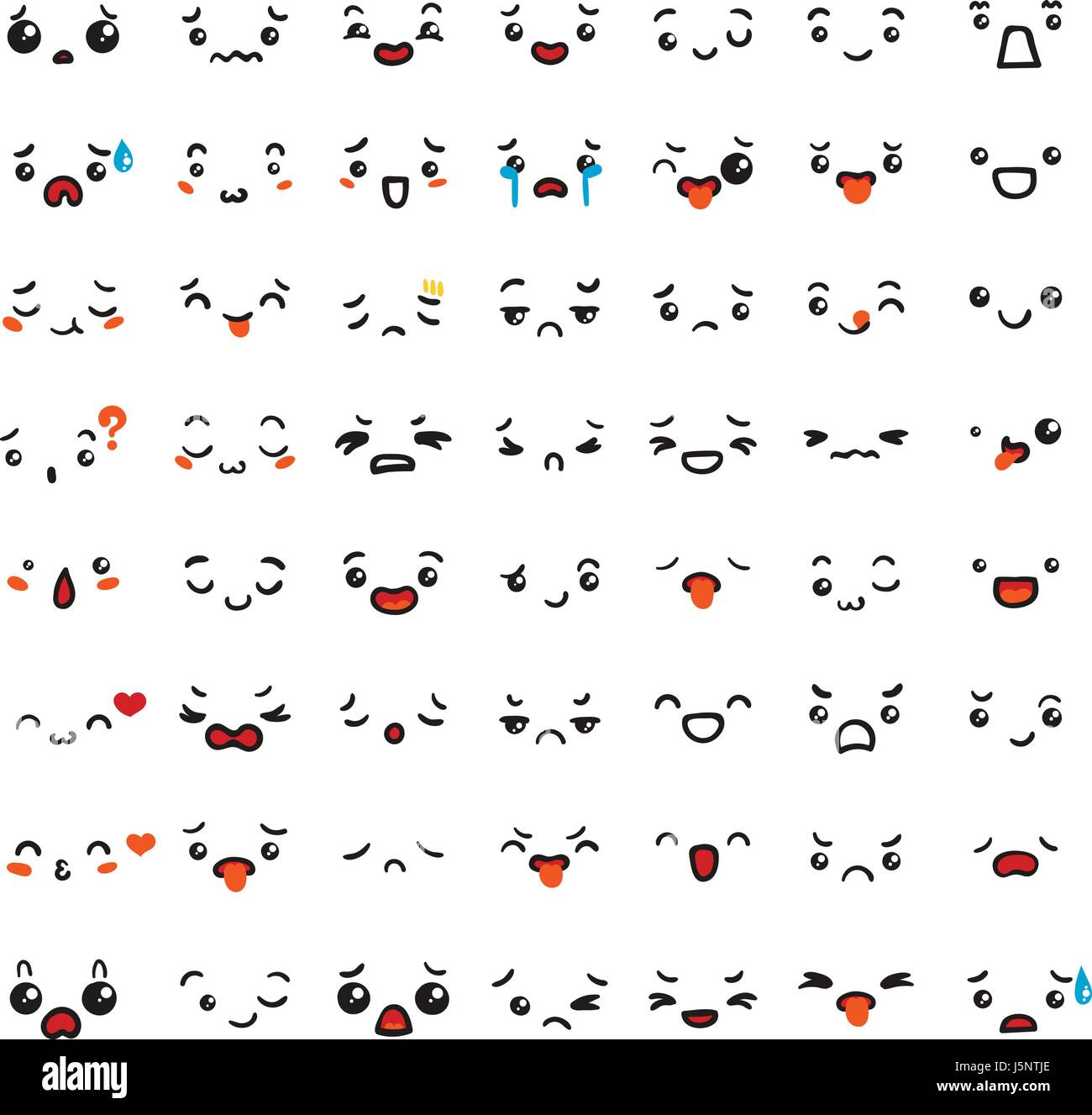 Set Of Cute Lovely Kawaii Emoticon Doodle Cartoon Face In Childlike Stock Vector Image Art Alamy