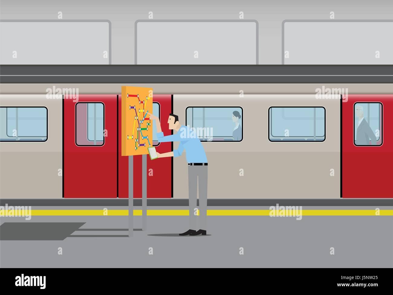Man Looking At Subway Map.Man Looking At Subway Map Stock Vector Art Illustration Vector
