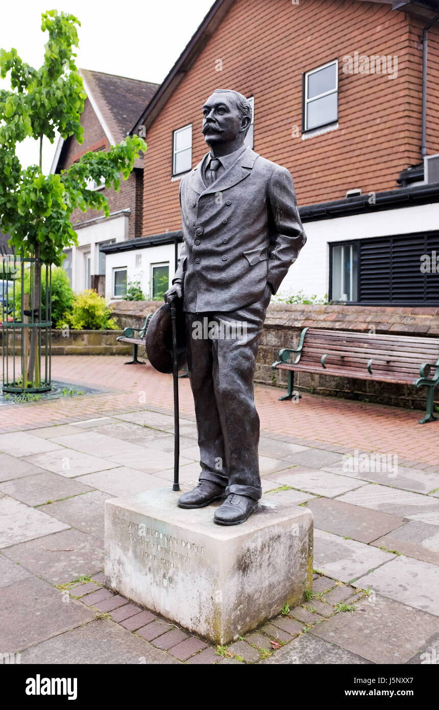 Crowborough East Sussex UK - Statue of Sir Arthur Conan Doyle the creator of Sherlock Holmes in Crowborough where - Stock Image