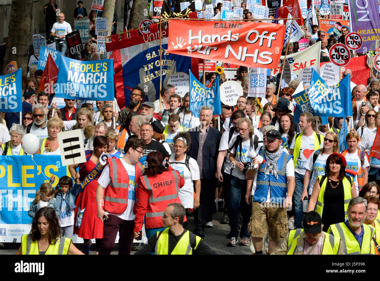 London, 6th Sept. March for the NHS. Marchers from Jarrow to London against privatisation of the NHS Billy Bragg - Stock Image