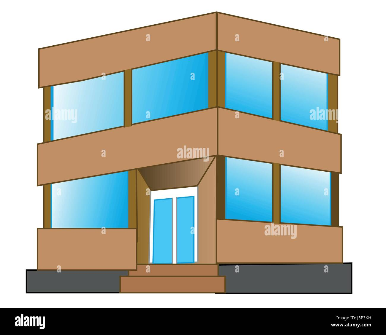 Small gray building - Stock Vector
