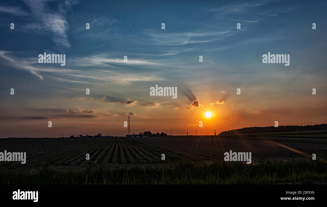 Sunset sun with divergent rays in cirrus clouds - Stock Image