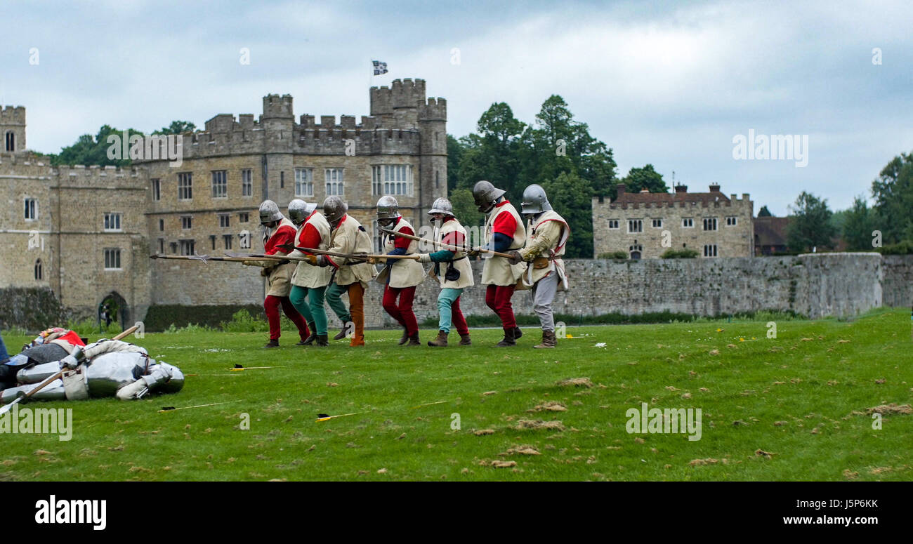 View of medieval foot soldiers with spears - Stock Image