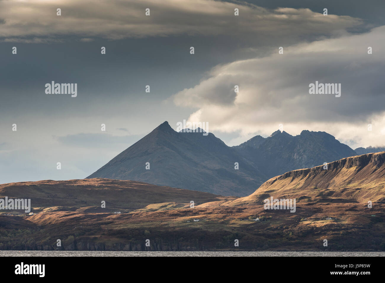 View to Bla Beinn in the Cuillin hills on the Isle of Skye in Scotland. - Stock Image