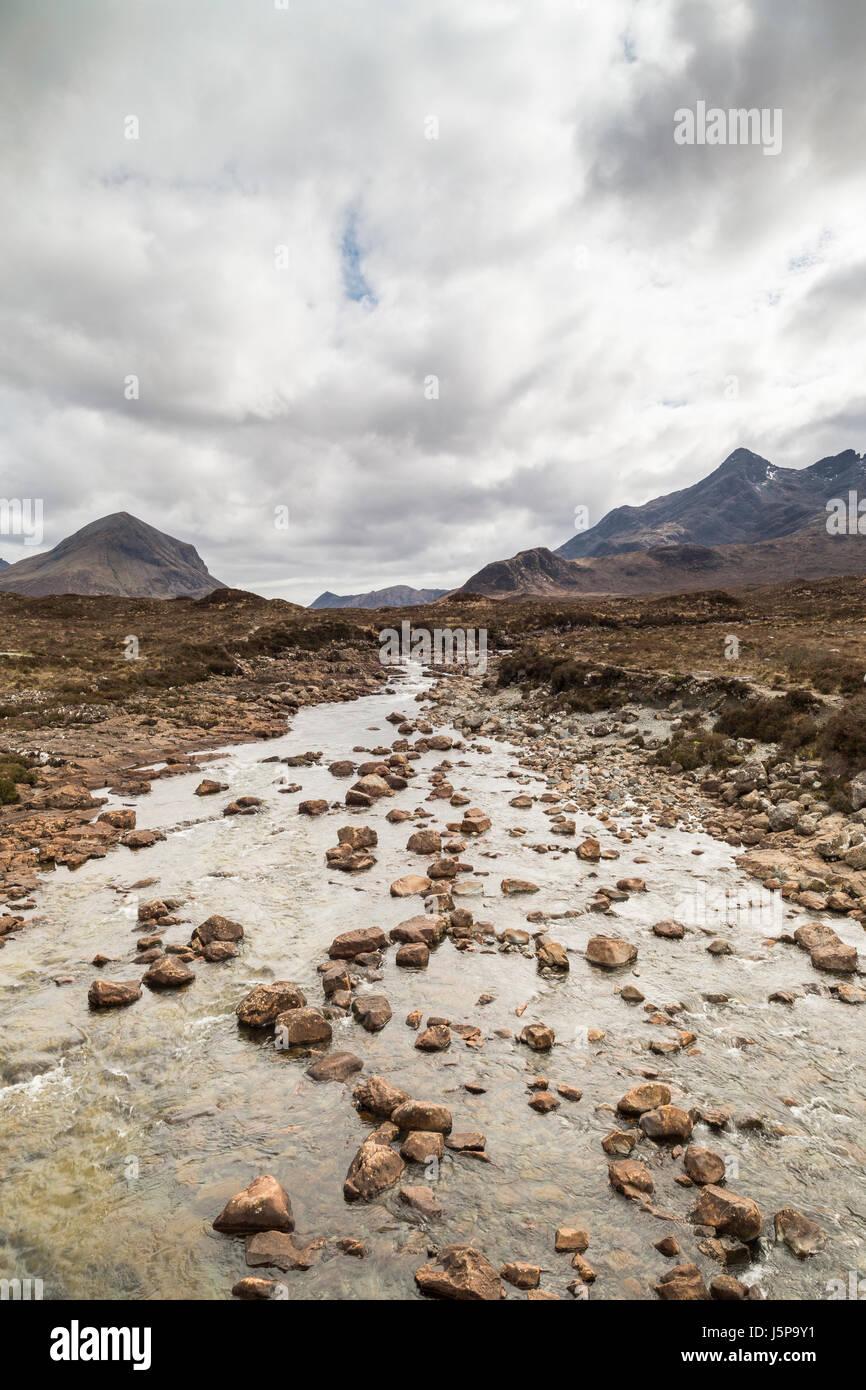 River Sligachan in the Cuillin on the Isle of Skye in Scotland. - Stock Image