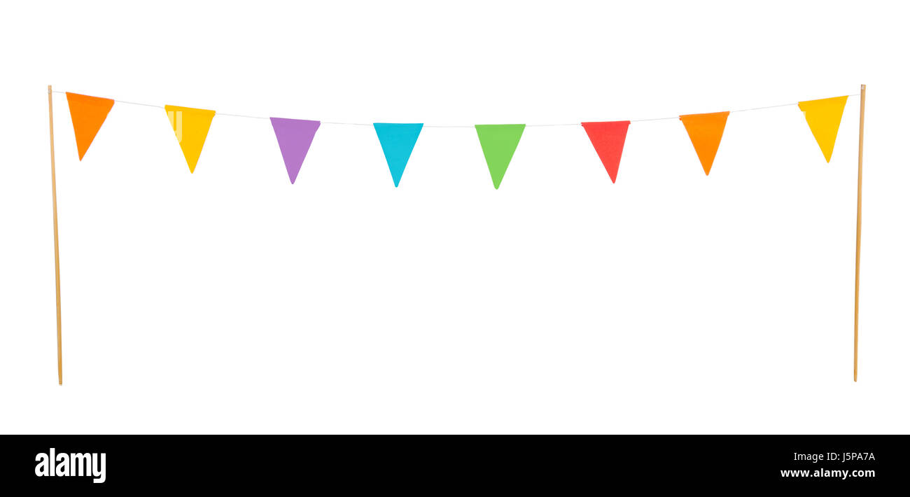 colorful party flags on a line made of paper isolated on white background - Stock Image