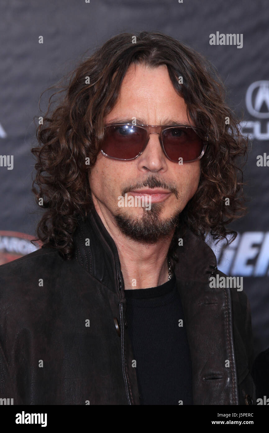 Chris Cornell at the premiere of Marvel Studios' 'Marvel's The Avengers' held at the El Capitan Theatre on April Stock Photo