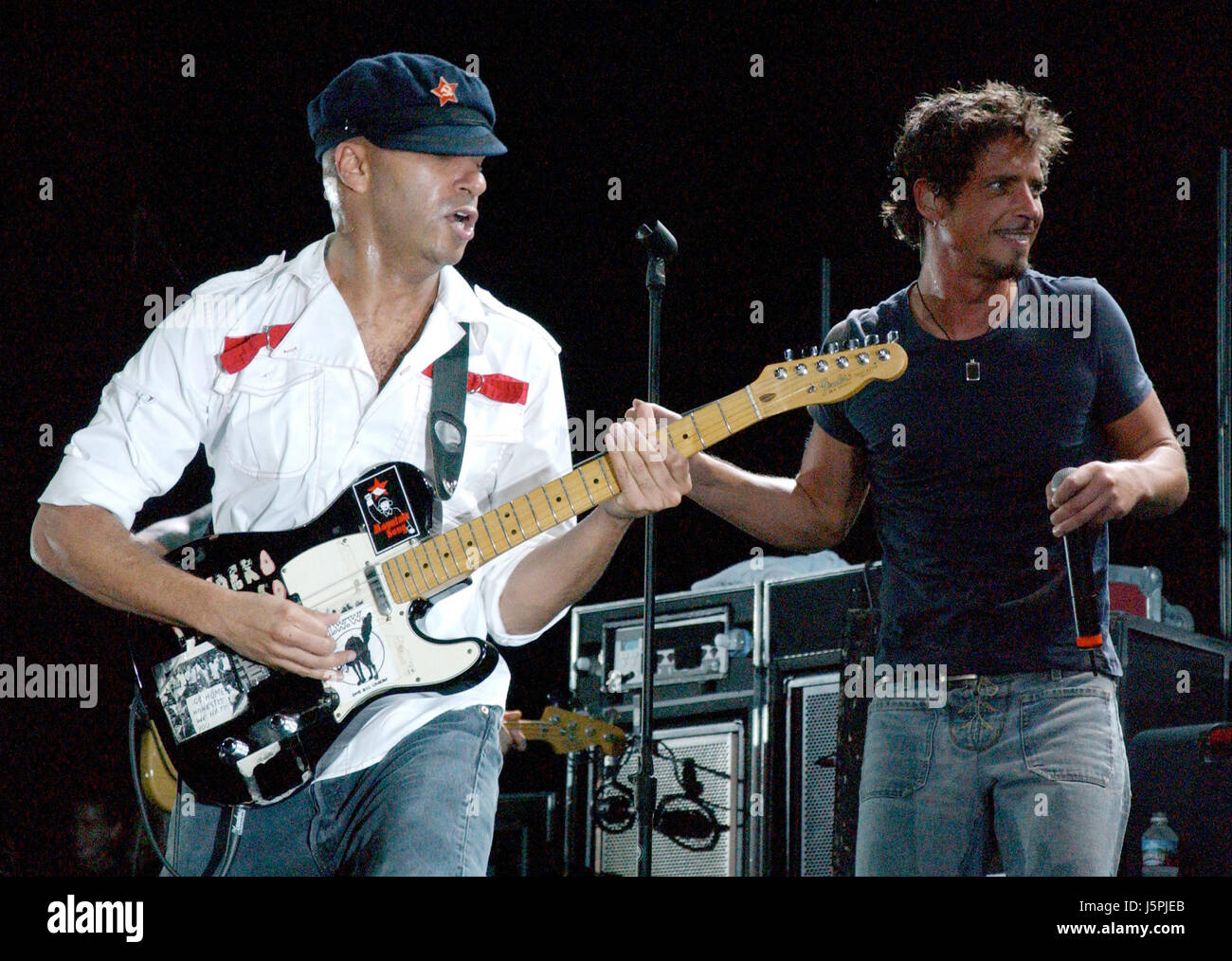 August 16, 2003 - Audioslave performs during Lollapalooza 2003. The show was held at Verizon Amphitheater on Saturday. - Stock Image