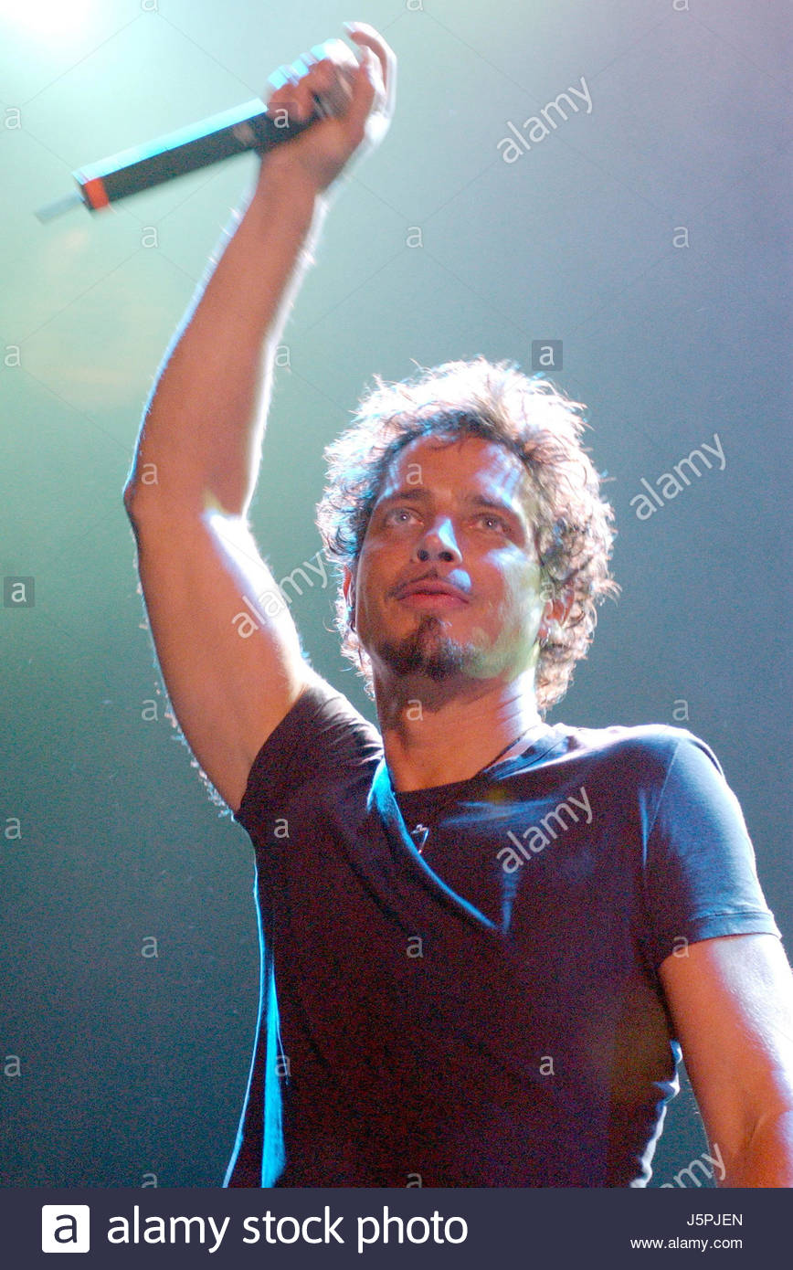 August 16, 2003 - Chris Cornell of Audioslave performs during Lollapalooza 2003. The show was held at Verizon Amphitheater - Stock Image