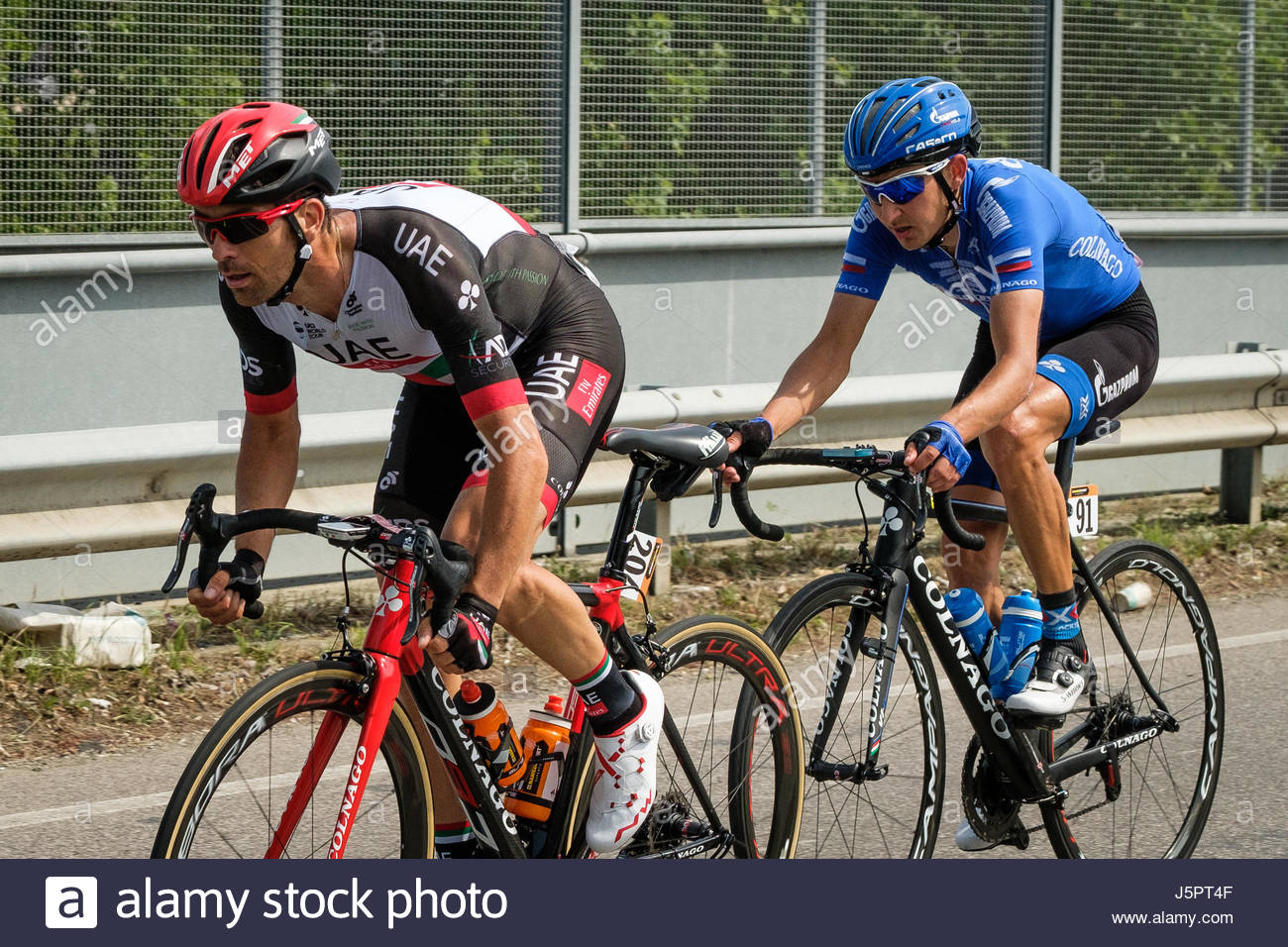 Bologna, Italy. 18 May, 2017. Cyclists competing in the 2017 Giro d'Italia pass through the town of Zola Predosa - Stock Image