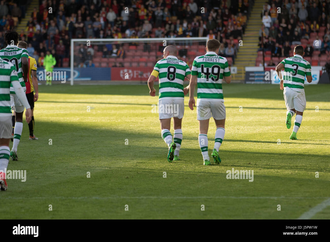 Glasgow, Scotland UK, 18 May 2017, Partick Thistle v Celtic, Firhill Stadium, SPFL Match 5-0. Scottish Premiership Stock Photo