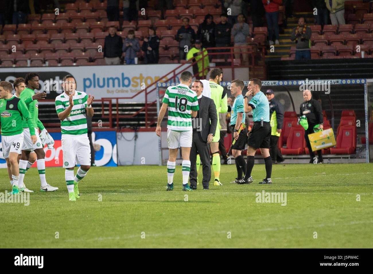 Glasgow, Scotland UK, 18 May 2017, Partick Thistle v Celtic, Firhill Stadium, SPFL Match 5-0. Scottish Premiership - Stock Image