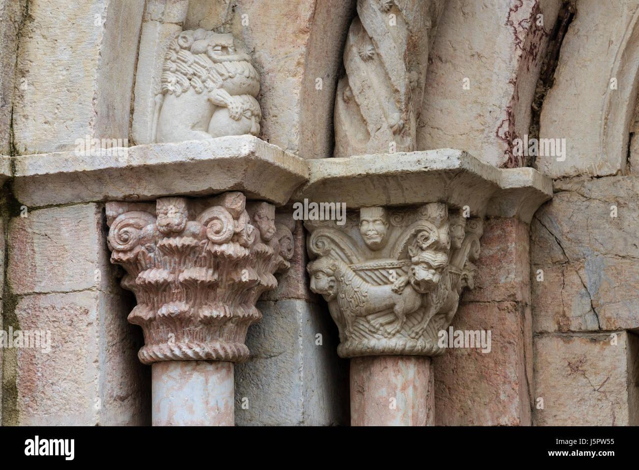 France, Pyrenees Orientales, Villefranche de Conflent, labelled Les Plus Beaux Villages de France, the church, detail - Stock Image