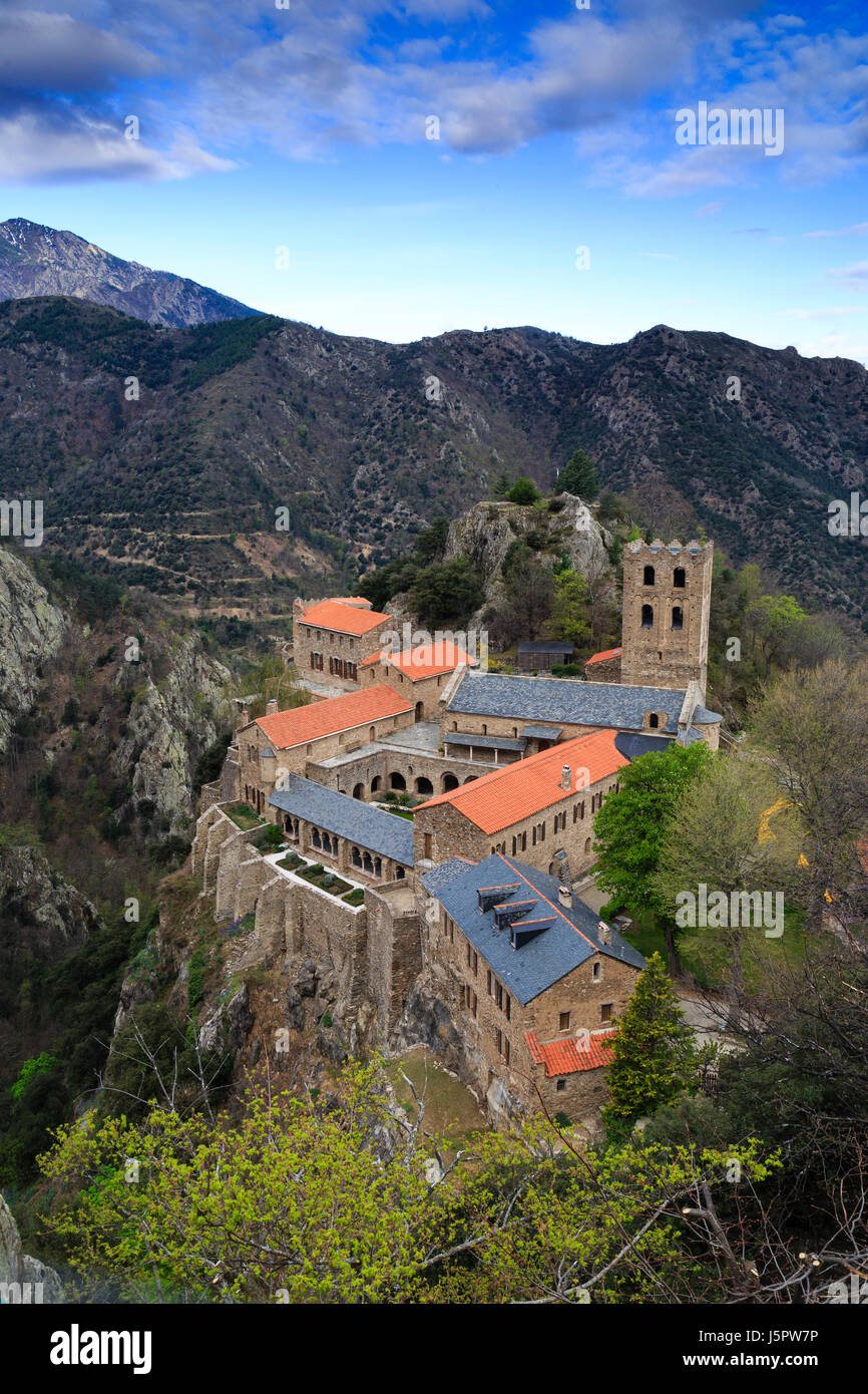France, Pyrenees Orientales, Casteil, Saint Martin du Canigou abbey Stock Photo