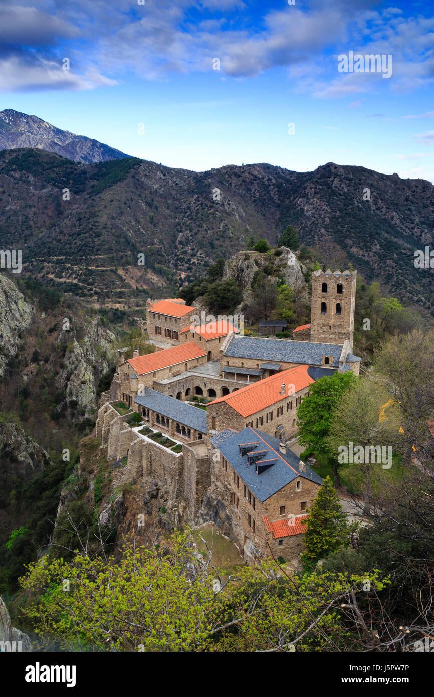 France, Pyrenees Orientales, Casteil, Saint Martin du Canigou abbey - Stock Image