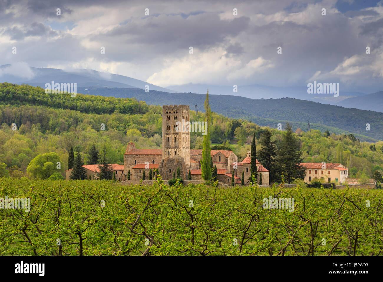 France, Pyrenees Orientales, Codalet, Saint Michel de Cuxa abbey - Stock Image