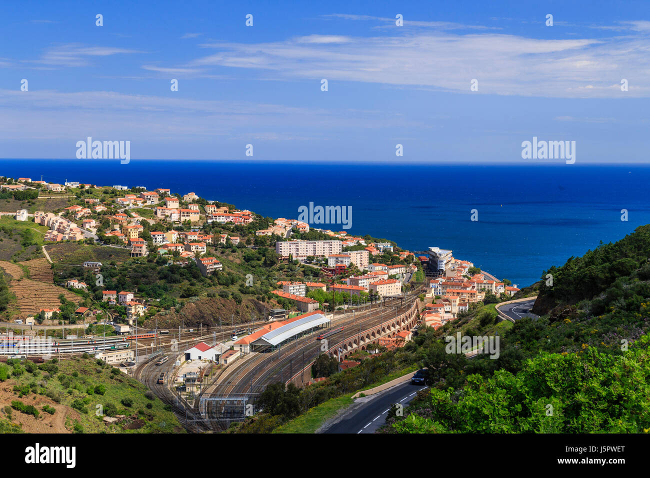 France, Pyrenees Orientales, Cerbere, the town and the rail Station - Stock Image