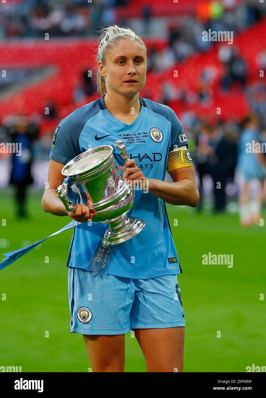 Manchester City captain Steph Houghton  kisses the cup during the SSE Women's FA Cup Final match between Birmingham - Stock Image