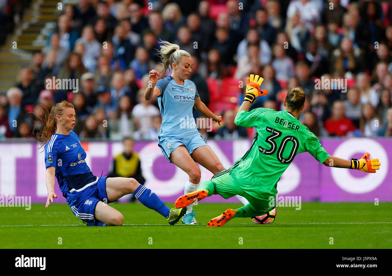 Nikita Parris of Man City is challenged by Meaghan Sargeant and Ann-Katrin Berger of Birmingham during the SSE Women's - Stock Image