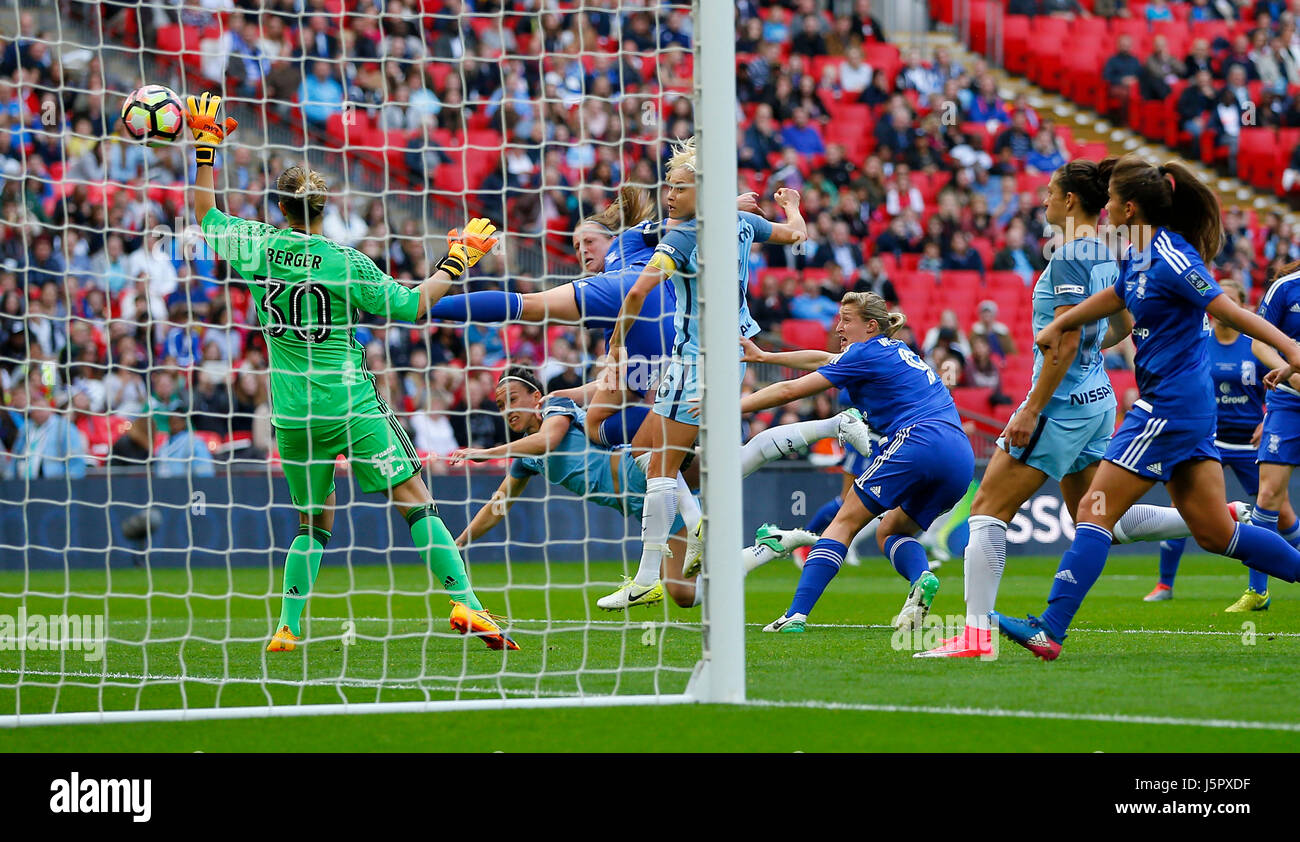 Lucy Bronze (Obscured) of Manchester City scores the opening goal during the SSE Women's FA Cup Final match between - Stock Image