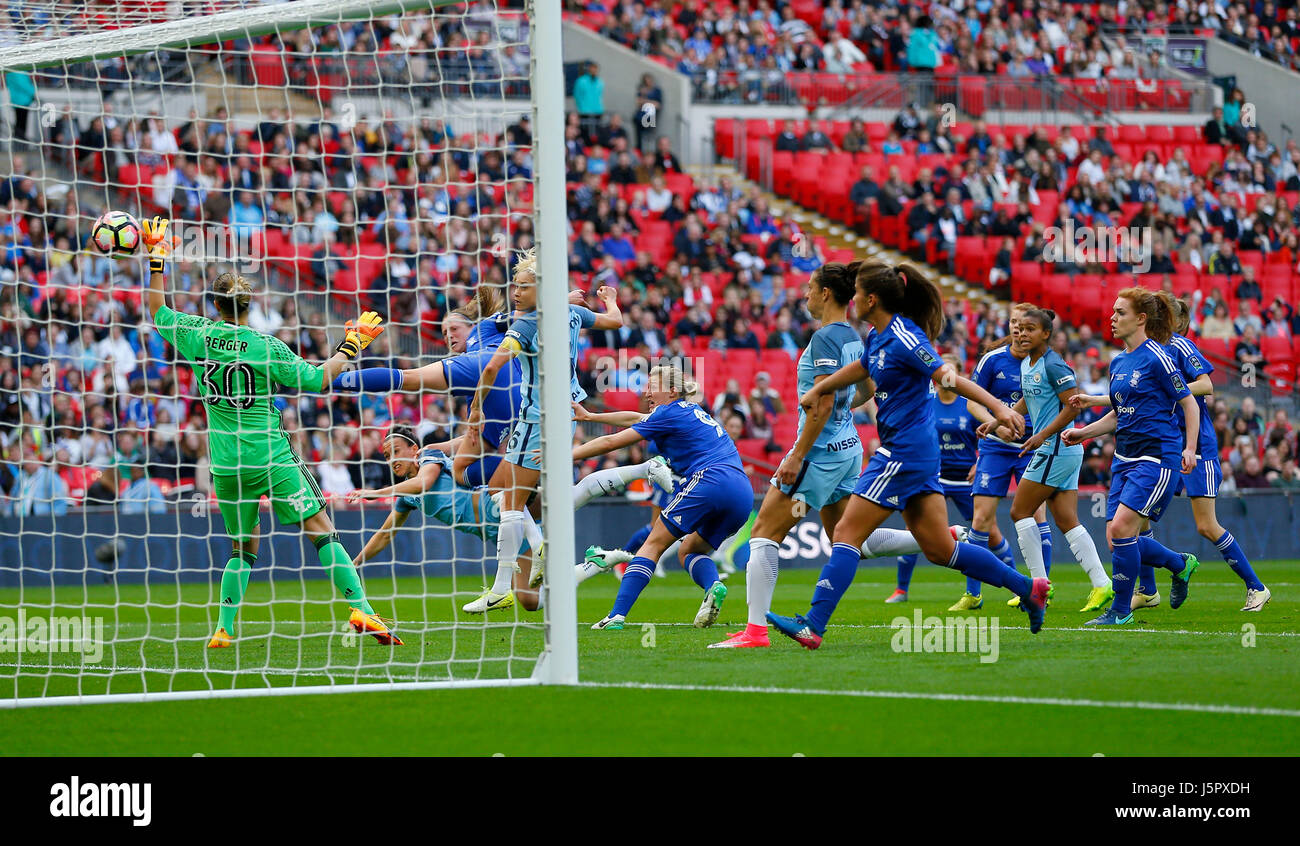 Lucy Bronze of Manchester City scores the opening goal during the SSE Women's FA Cup Final match between Birmingham - Stock Image