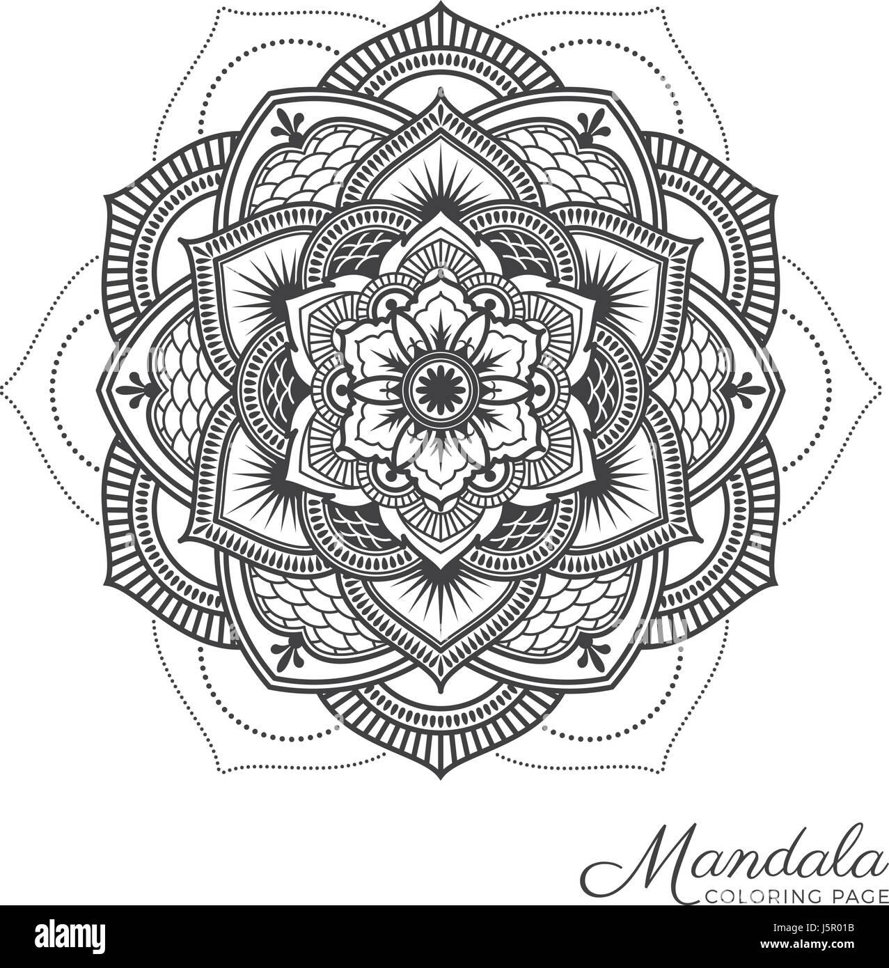 Tibetan Mandala Decorative Ornament Design For Adult Coloring Page Greeting Card Invitation Tattoo Yoga And Spa Symbol Vector Illustration