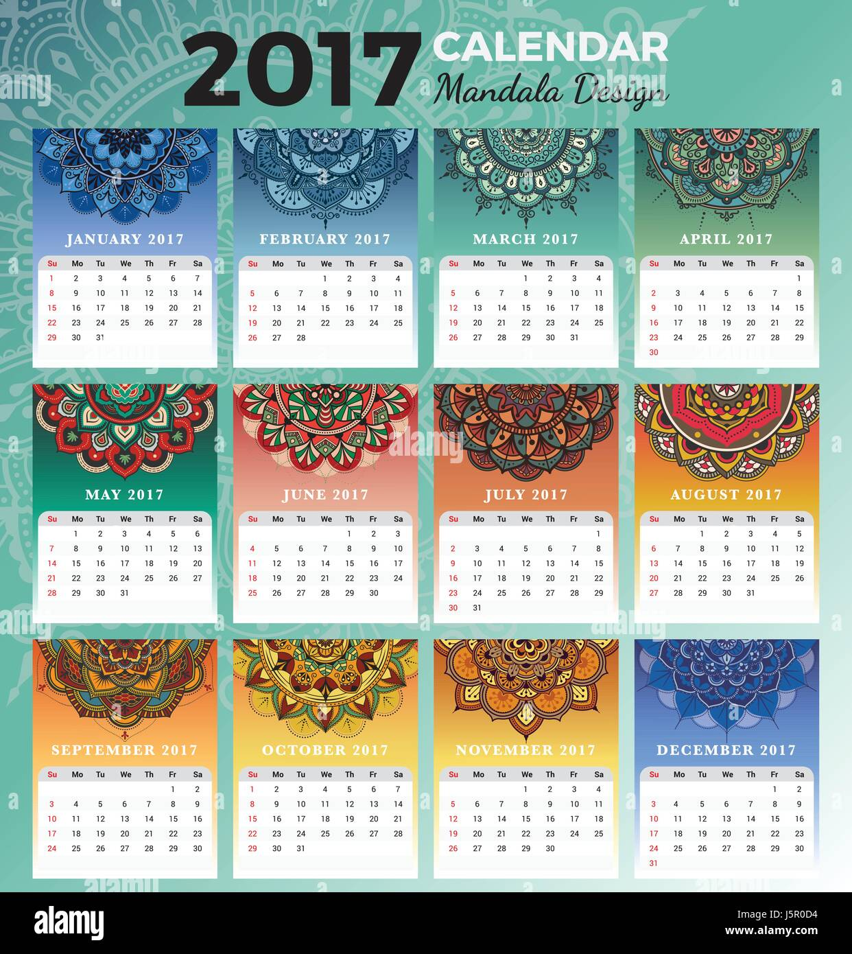 printable monthly calendar 2017 design with colors of seasons and