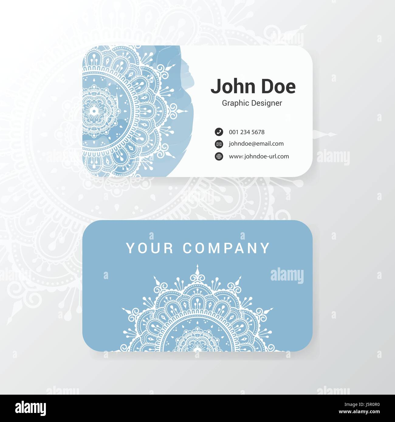 Lovely business name card template design with mandala flower and lovely business name card template design with mandala flower and water color painting vector illustration accmission
