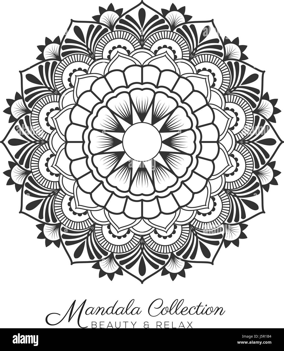 Tibetan Mandala Decorative Ornament Design For Coloring Page Greeting Card Invitation Tattoo Yoga And Spa Symbol Vector Illustration