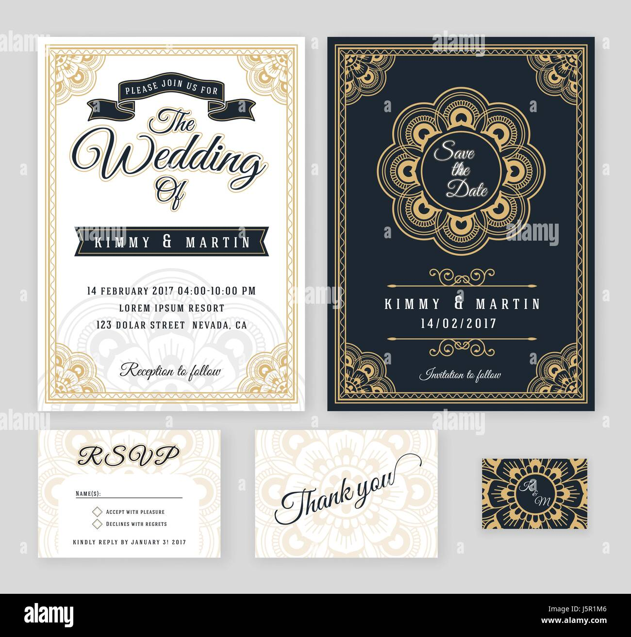 Vintage wedding invitation Mehndi mandala design sets include Stock ...